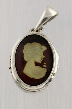 Carved Engraved Cameo Genuine BALTIC AMBER Silver Compartment Pendant p150125-9