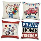 4 Pcs July 4th Pillow Covers Independence Day Decorations Patriotic Pillow