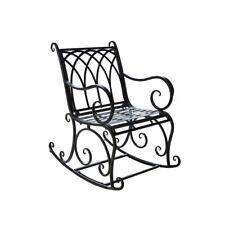 Black Rocking Chair Outdoor Metal Scroll