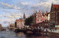 Canal in Amsterdam by Dutch  Johannes Hulk. City Art .  11x17 Print