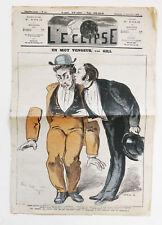 1872 L'Éclipse lot de deux numéros Gill journaux satiriques Satire Caricature