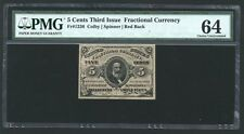 1864-69  5 CENT FRACTIONAL CURRENCY FR-1236 CERTIFIED PMG CHOICE UNCIRCULATED 64