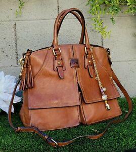 Dooney & Bourke clayton florentine leather natural satchel shoulder bag saddle