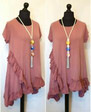 """QUIRKY LaGeNLooK BOHO ruched frill TUNIC DRESS """"MADE IN ITALY"""" A LINE HI LOW HEM"""