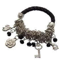 Damen Armband geflochten schwarz mit Charms Blume Schlüssel Stretcharmband