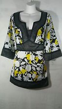 Lane Bryant Plus size 14 16 Tunic Top Yellow Black White Kimono Sleeve satineen