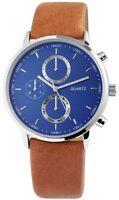 Excellanc Herrenuhr Blau Braun Chrono-Look Kunst-Leder Armbanduhr X-2900064-004