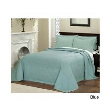 King Oversized Bedspread Blue Quilted French Tile Bedroom Classic 120 x 118 Inch