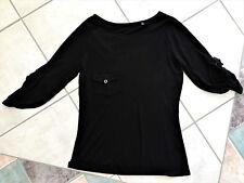 Ladies MARCS Top Black Size S Small 8 - 10 Boat Neckline Sleeves w Tab & Pocket