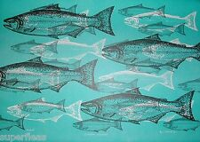 JIM GILBERT 1932 - 2000 artist signed # print Chinook Salmon - fisherman's art