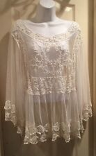 ❤️Pink Melo Crocheted Embroidered Mesh free Spirit people Natural Ivory L NWT