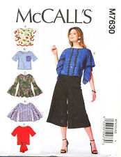 MCCALL'S SEWING PATTERN 7630 MISSES SZ 6-14 LOOSE-FITTING PULLOVER TOPS