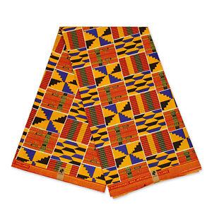 African Blue Yellow Kente print fabric KENTE Ghana wax cloth AF-4006 - cotton
