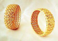 Indian Traditional  2pcs antique Gold plated Bangles Royal bracelet size 2.8 .