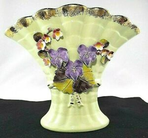 Chic of Calif Vase Fan Vintage Jadeite Green Floral Capodimonte Style Applied