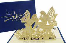 Angel Lover Play Flute 3D Pop Up Hand Crafted Wedding Valentine's Greeting Cards