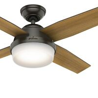 Hunter Fan 44 inch Contemporary Noble Bronze Ceiling Fan with Remote Control