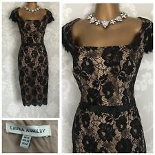 LAURA Ashley DRESS SIZE 12 Black Lace Holiday Cruise Wedding Party Evening Xmas