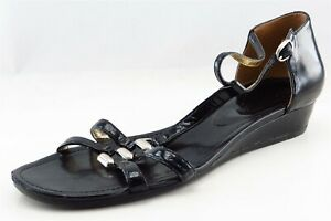 Enzo Angiolini Gladiator Black Patent Leather Women Sandal Shoes Sz 9 M