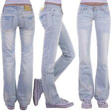 Damen Jeans Hose Hüftjeans Bootcut Gerader Schnitt Straight Leg Low Waist H47