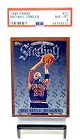 1996 Topps Finest Sterling HOF Bulls MICHAEL JORDAN Basketball Card PSA 8 NM-MT