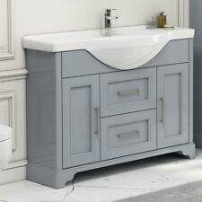 Traditional Victorian Grey Oak Bathroom Vanity Basin Twin Drawer Unit with Sink