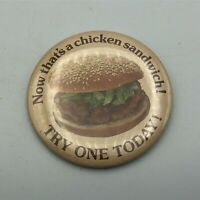 "Vtg KFC Kentucky Fried Chicken Pin Pinback 3"" Now That's A Chicken Sandwich Y4"