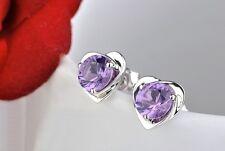 925 Sterling Silver Heart Purple Crystal Ear Stud Pin Earrings Women Lady Girl