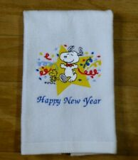 Embroidered SNOOPY Happy New Year White COTTON TOWEL Kitchen Bathroom ANY ROOM
