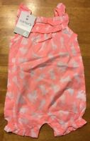 NWT Carter's Girl's Coral & White Bunny Rabbit Romper / One Piece 6 / 9 Months