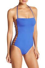 Trina Turk Riviera Bandeau One-Piece Swimsuit Cobalt TT60311 Size 10
