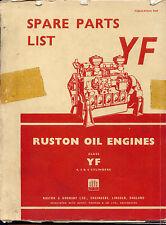 Ruston Class YF 4, 5 & 6 cylinder oil engine parts list original