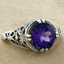 DEEP PURPLE LAB AMETHYST 925 STERLING SILVER ANTIQUE STYLE RING SZ 6,#719