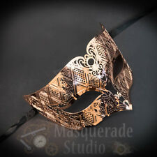 Mens Unisex Simplistic Filigree Light Metal Masquerade Ball Mask [Rose Gold]
