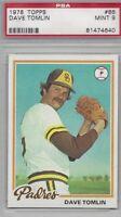 1978 Topps baseball card #86 Dave Tomlin, San Diego Padres graded PSA 9 Mint