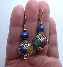 Pretty Handmade Nepal Beads & Blue Lapis Lazuli Gold Earrings --- A0501