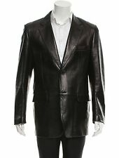 GUCCI by Tom Ford Black Genuine Leather Three Buttons  Blazer Size 48 M