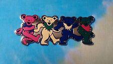 Grateful Dead Row of Dancing Bears 2 x 5 Inch Metal Metallic Sticker