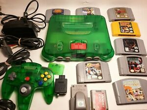 Nintendo 64 Jungle Green Console w/ Jungle Green Controller- 8 Games and extras