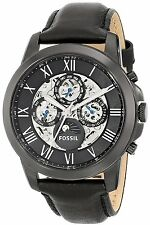 Fossil Men's ME3028 Grant Multi-Function Moonphase Automatic Black Leather Watch