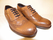 Roamers Tan Brown Leather Brogue Oxford Shoes, Country Style, M987B , Size UK 9