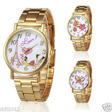 Ladies Women Golden Stainless Steel Luxury Watches Analog Quartz Wristwatches