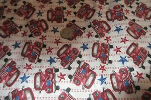 Patriotic red truck fabric   1/2 Yard Cotton