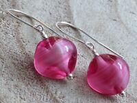 Vintage Czech Pink & Encased White Givre Swirl Glass Sterling Silver Earrings