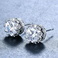 18K White Gold GP Clear Round CZ Cubic Zirconia Wedding Bridal Stud Earrings