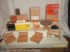 Lot of 12 Vintage Dollhouse Furniture Tomy Smaller Homes Sideboard Kitchen More