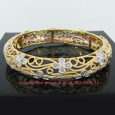 Real Womens Solid 18k Yellow Gold GF Round Lady Girl Lucky Bangle Bracelet Band