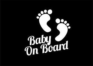 Baby on Board Footprint Carchild Window Decal Vinyl Sticker New Born Baby