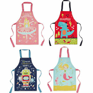 Kids Apron Childrens Cooking Baking Painting Messy Play Aprons For Boys Girls
