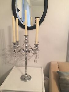 5 Arm Crystal Candelabra Taper Candle Holders Wedding Centerpieces